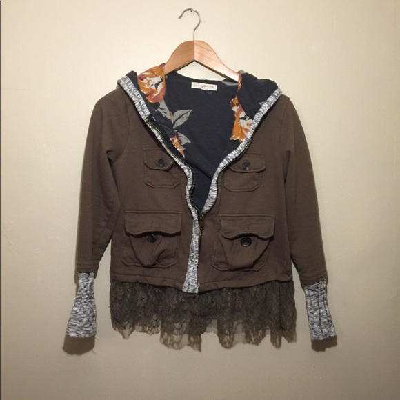 Scrapbook Jackets & Blazers - Floral military zip up hoodie with lace trim